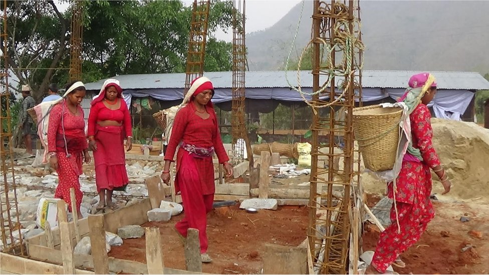 Women at the building site in Bidur in Nuwakot district