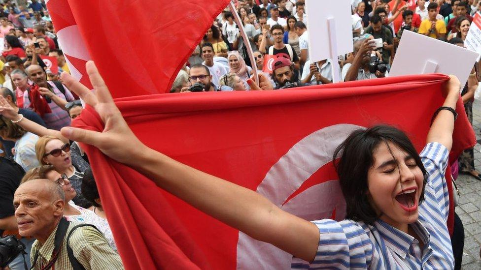 متظاهرة يوم المراة التونسية آب/ أغسطس 2018