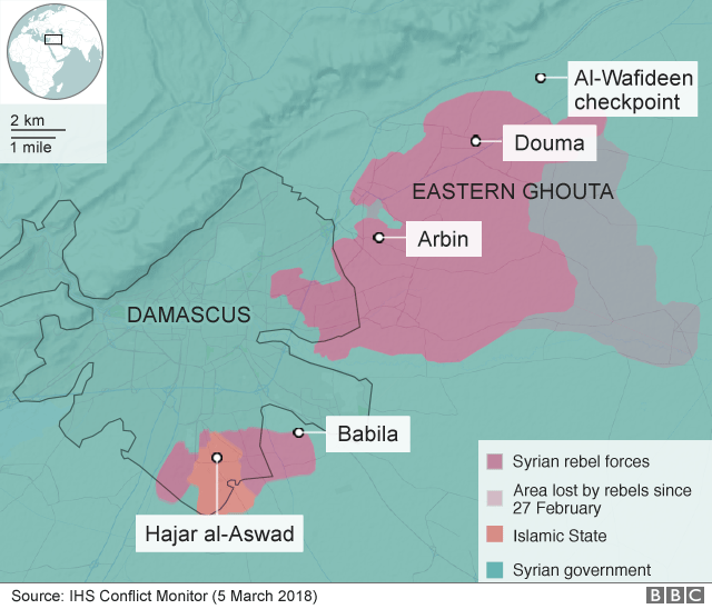Map showing control of the Eastern Ghouta and al-Wafideen checkpoint (5 March 2018)