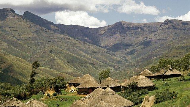 Basuto Huts in Pitseng, Lesotho