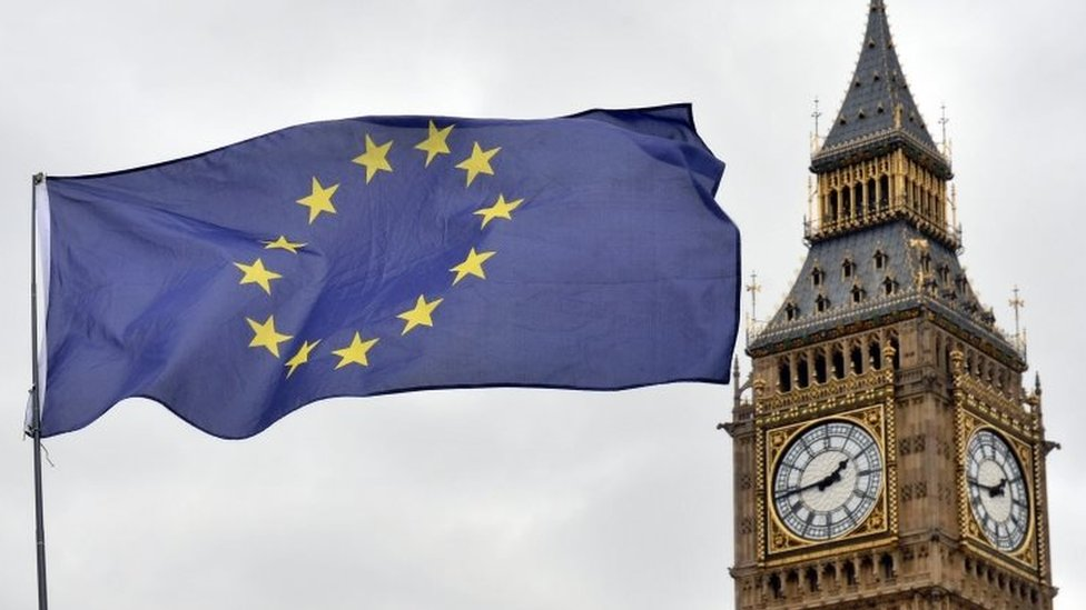 An EU flag and the Houses of Parliament