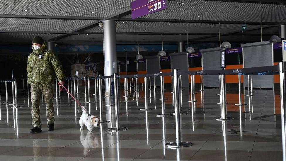 El aeropuerto internacional Boryspil vacío