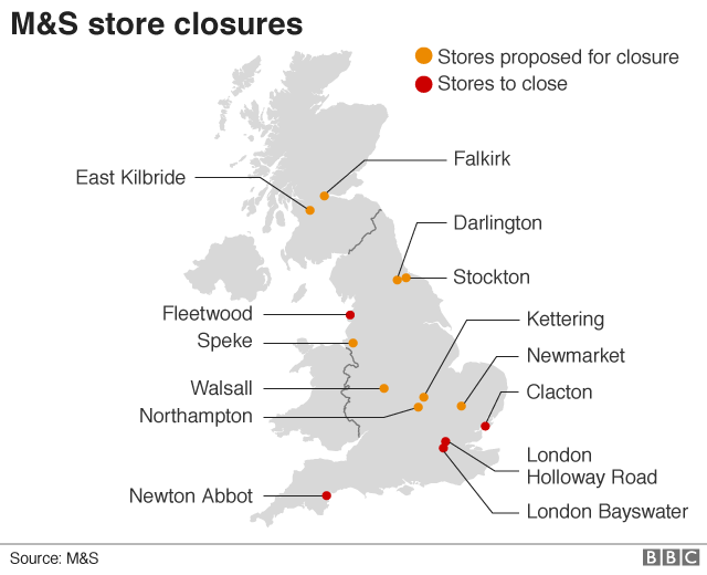 Map of M&S store closures