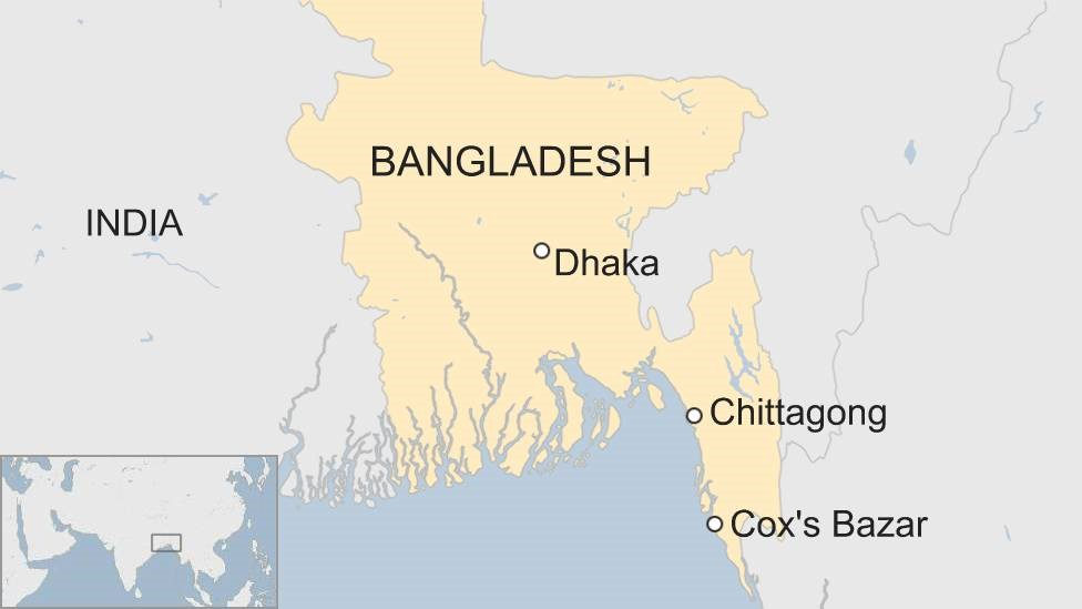 Map showing Chittagong and Cox's Bazar in Bangladesh
