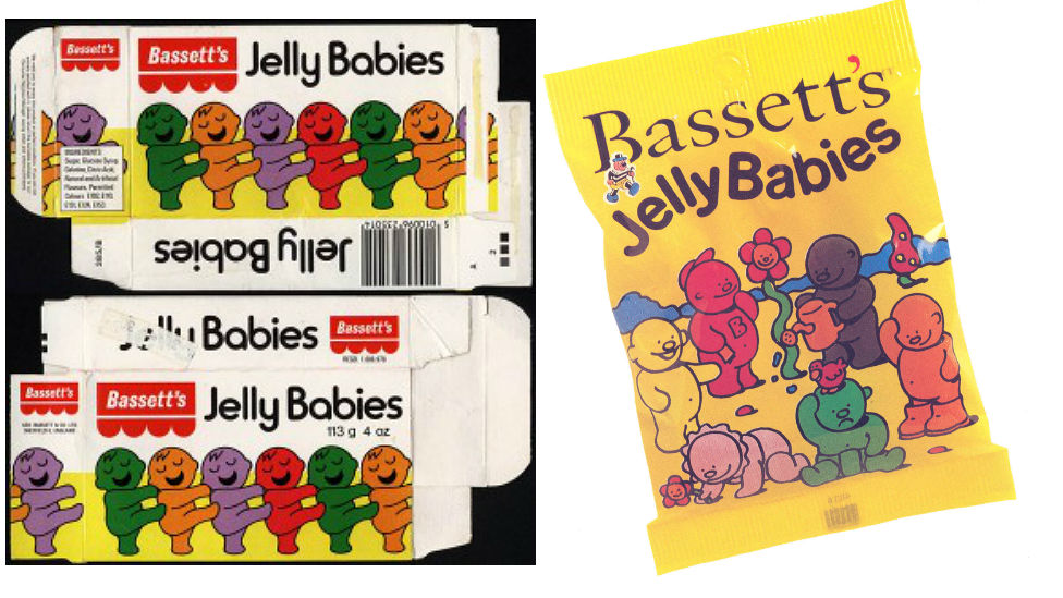 Packaging for Jelly Babies through the years