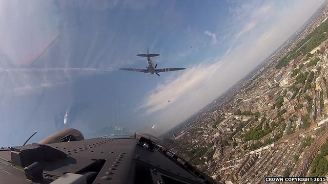 Cockpit view of Battle of Britain anniversary flypast