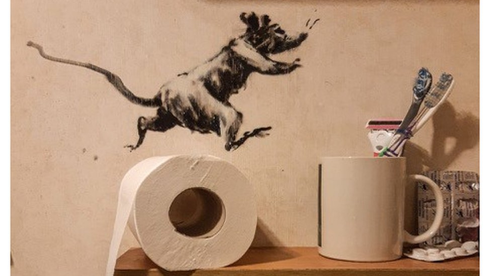 One of the rats pictured in Banksy's latest artwork