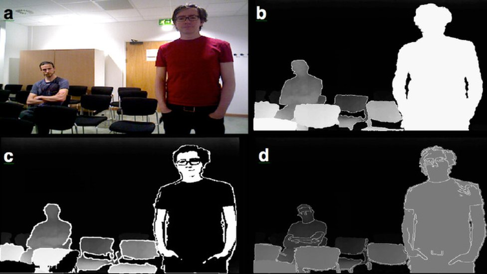 Four versions of the same image of two men from colour to black and white outlines