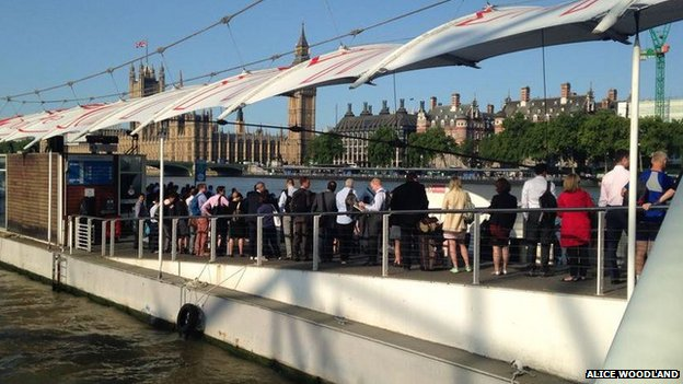 Commuters queuing for river boats