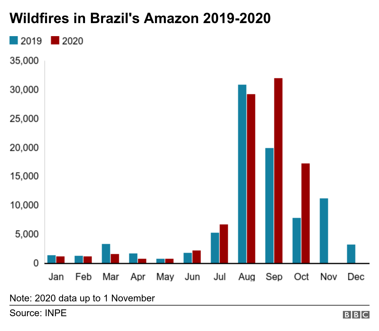 Graph showing the number of fires in the Amazon