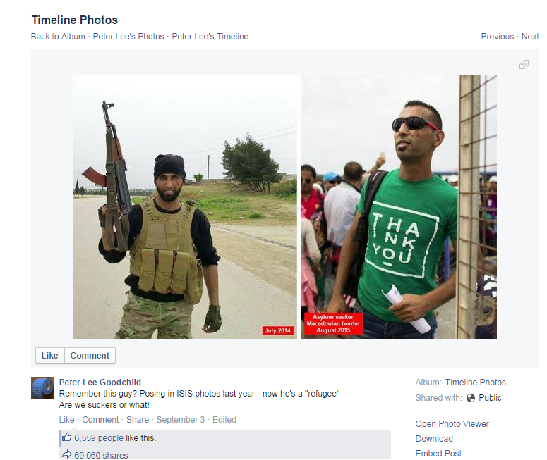 One version of a photo of an alleged IS militant - really a former Free Syrian Army commander - claiming asylum in Europe. The Facebook user who posted one of the most viral versions of these photos has since apologised