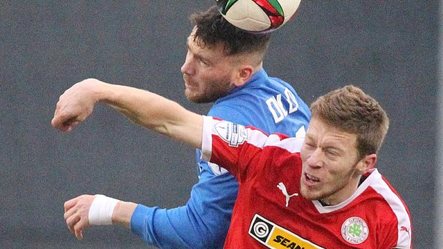 Action from the 3-3 draw between Glenavon and Cliftonville at Mourneview Park