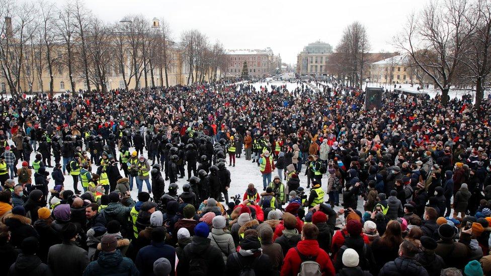 احتجاجات في سان بطرسبرغ