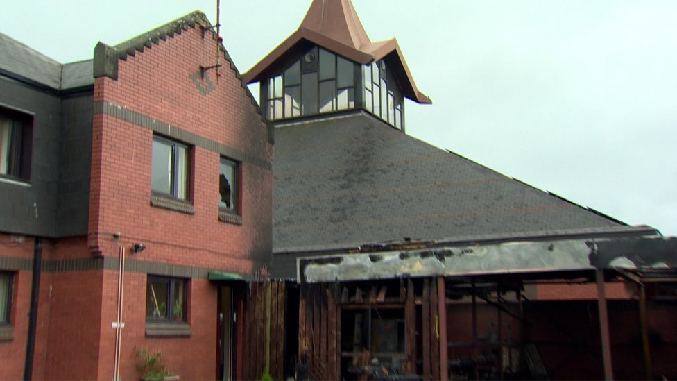 The fire spread to the church roof and tiles were removed by the fire service to prevent it spreading further