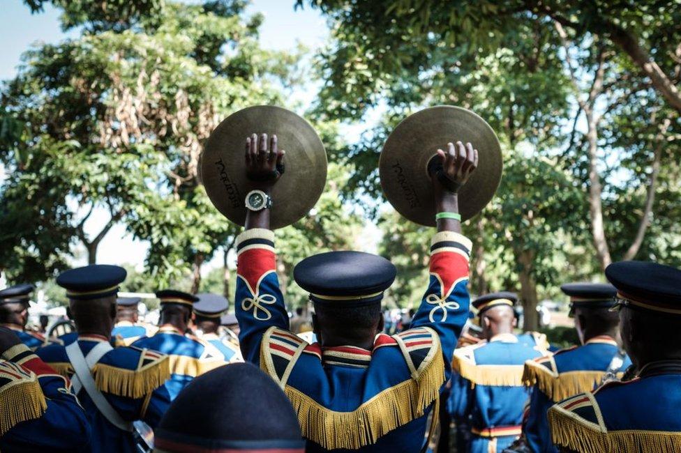 Members of Kenya police Band perform during the celebration of Madaraka day, a day celebrating Kenya's attainment of internal self-rule in 1963, in Kisumu, Kenya, on June 1, 2018.