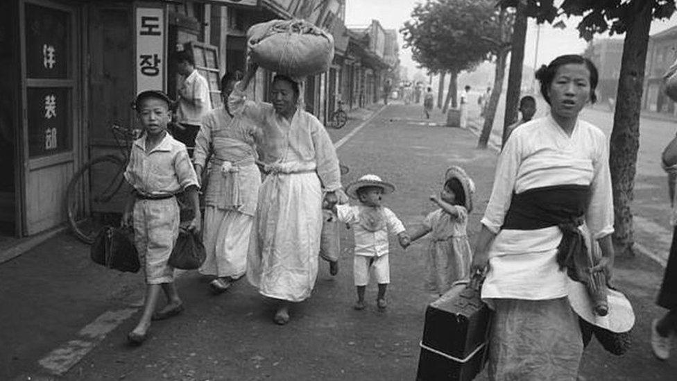 نازحون خلال الحرب الكورية