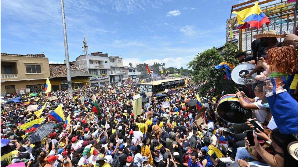 Una protesta en Colombia