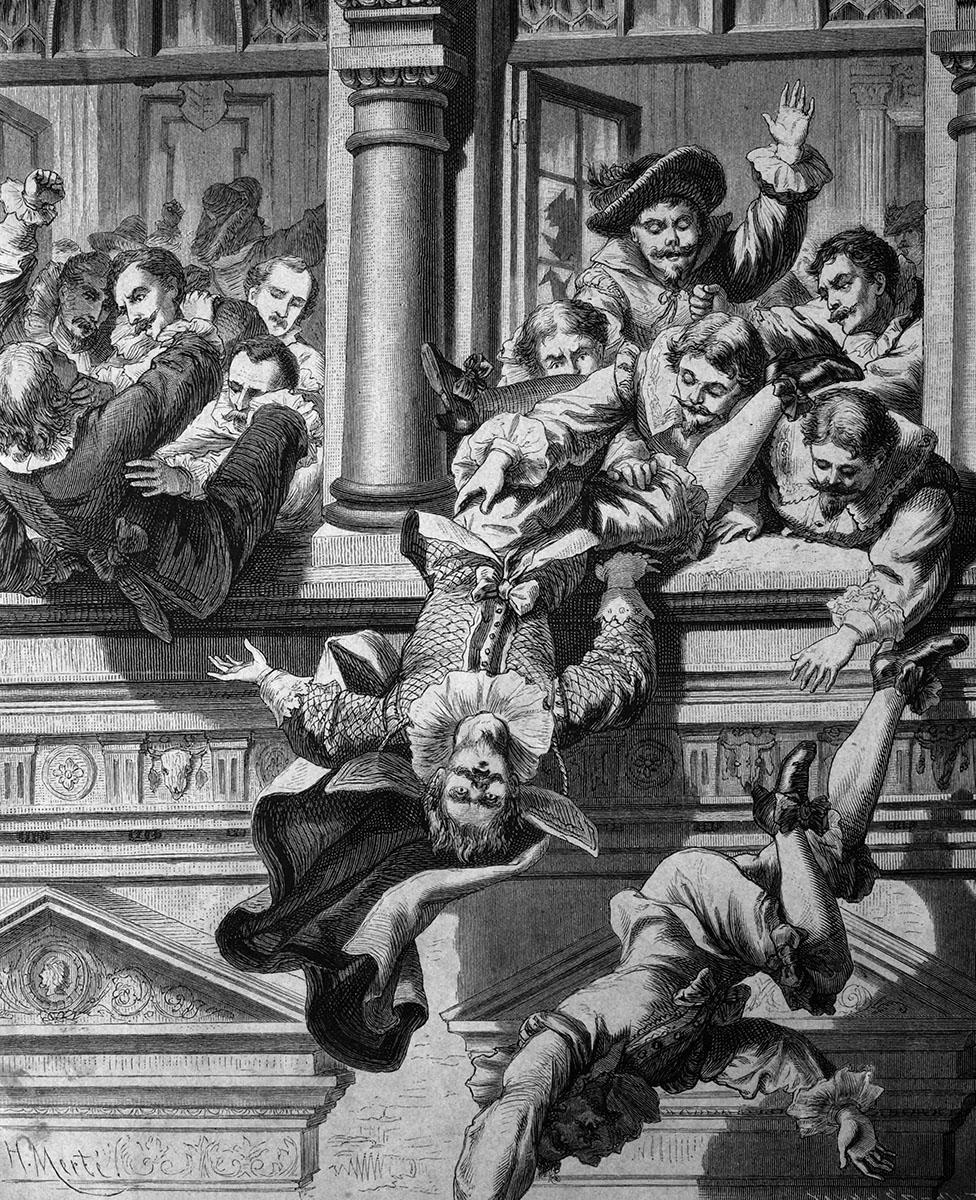 Ilustración mostrando el momento en el que arrojan a los hombres por la ventana