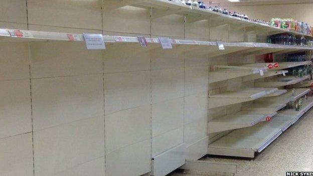 Empty water shelves