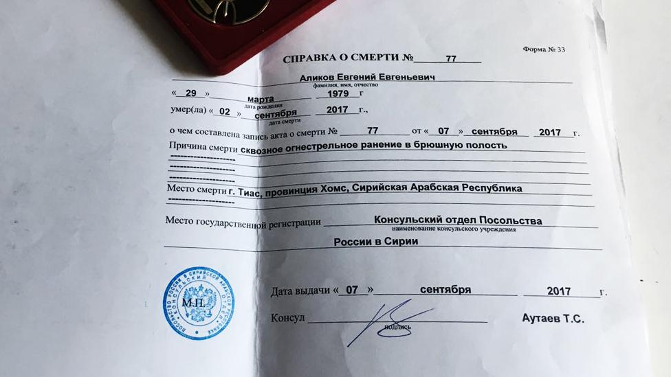 Yevgeny Alikov's death certificate