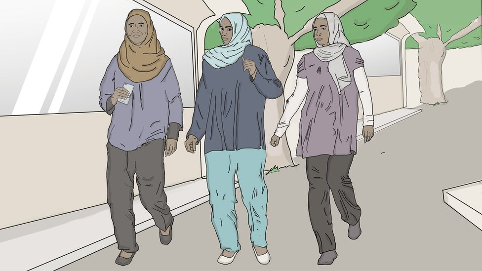 sketch of women wearing trousers