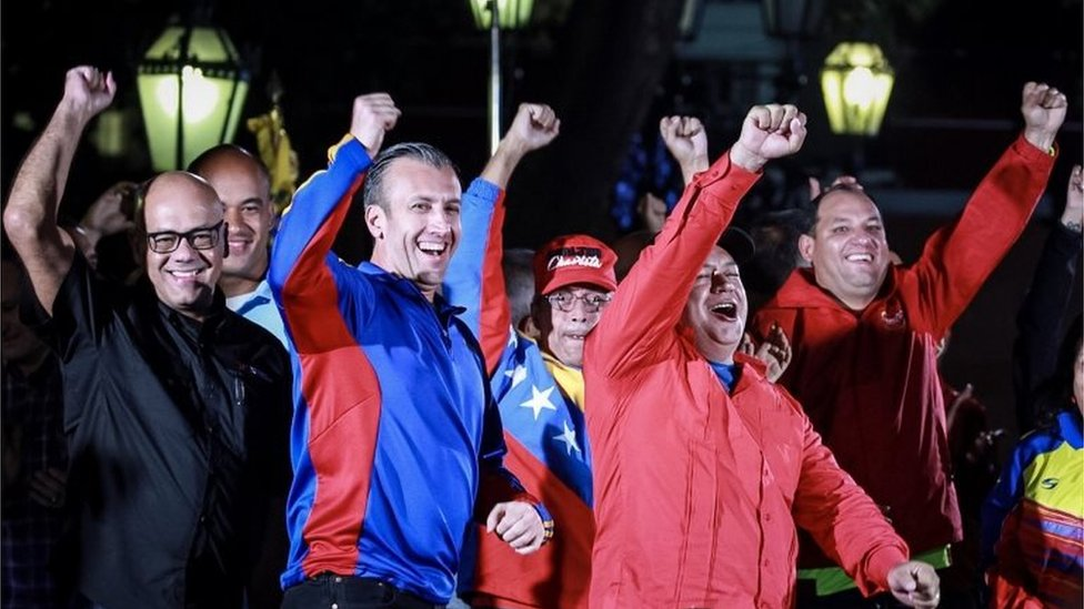 "The mayor of Caracas Jorge Rodriguez (L), The Vice President of Venezuela Tareck El Aissami (2-L), the Minister of Electrical Energy Luis Alfredo Motta Dominguez (C) and the first vice president of the ruling United Socialist Party of Venezuela (PSUV) Diosdado Cabello (2-R), attend an event celebrating the election results after a national vote on President Nicolas Maduro""s proposed Constituent Assembly at Plaza Bolivar in Caracas, Venezuela, 31 July 2017"