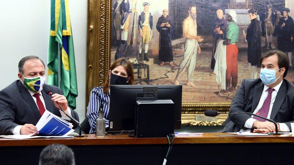 Pazuello na Câmara em fevereiro