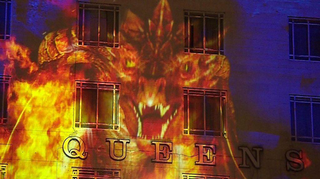 Leeds Light Night projections illuminate city buildings