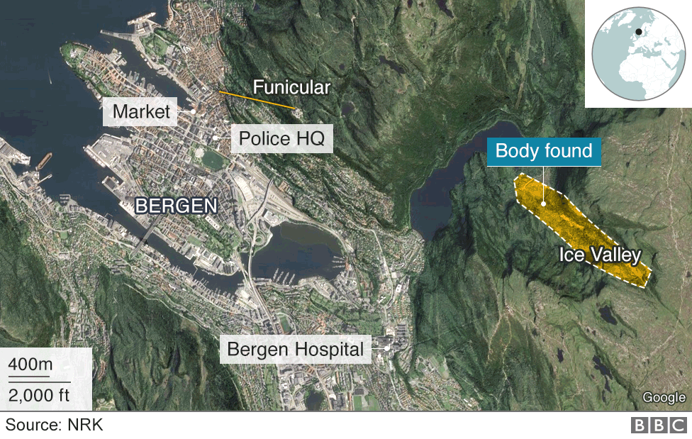 Map of Bergen and Isdalen