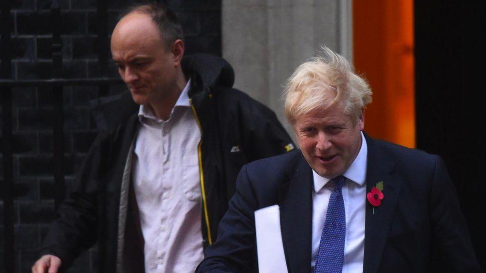 Dominic Cummings and Boris Johnson leave 10 Downing Street