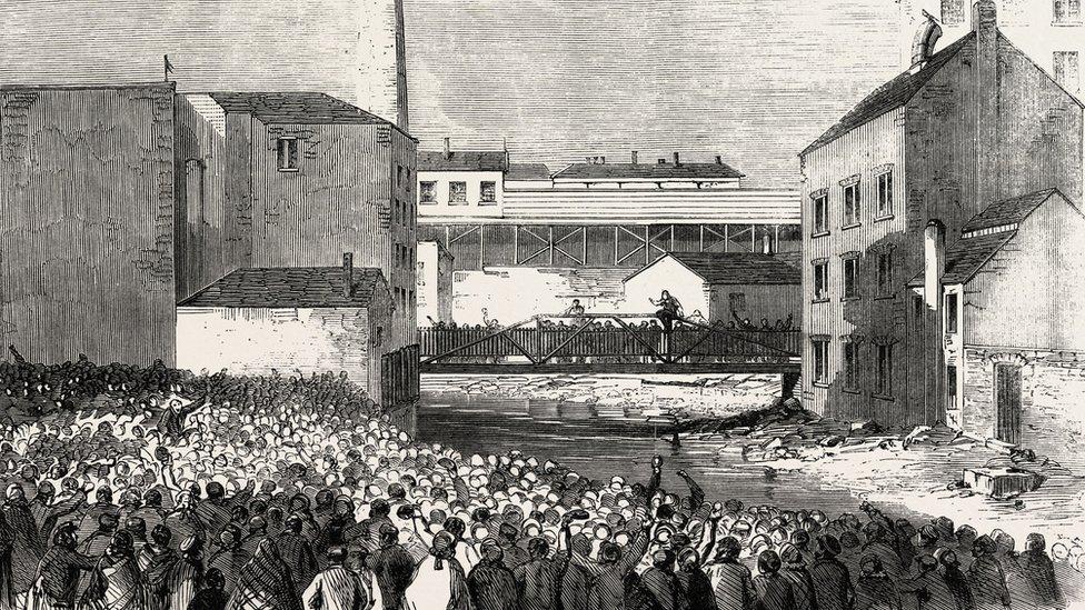 image of Stalybridge strike of workers in Victorian era