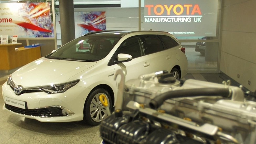 Toyota car in showroom/reception with engine block