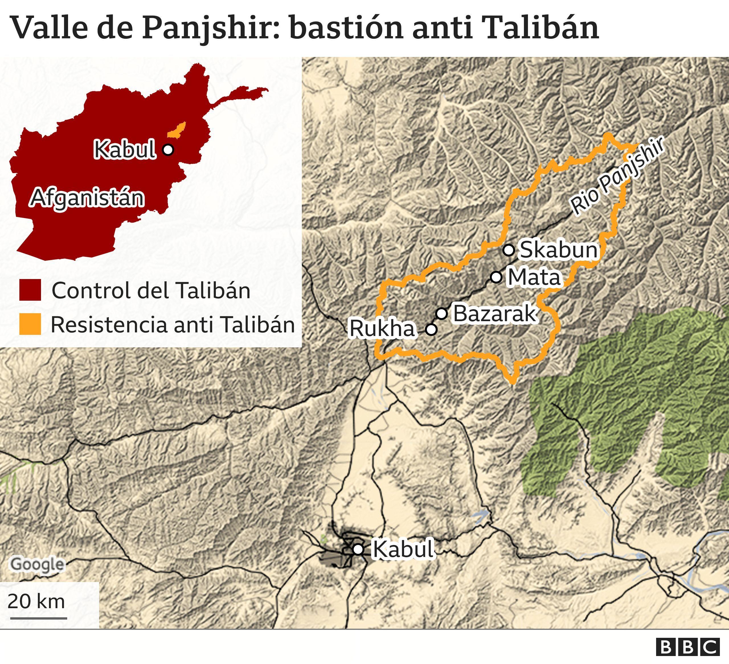 Mapa de la región del valle de Panjshir