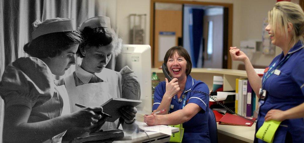 NHS nurses seen in 1953 and 2018