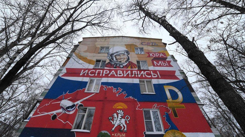 Veliki mural posvećen Juriju Gagarinu u Moskvi