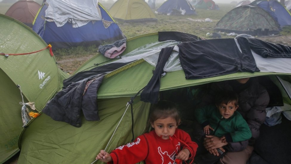 Migrants camping near the Idomeni border crossing in northern Greece, 8 March