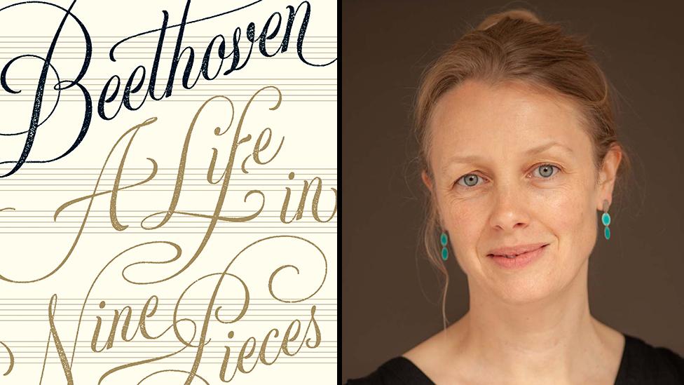 """Carátula del libro """"Beethoven: un vida en nueve piezas"""" y su autora Laura Tunbridge (Foto: Richard Strittmatter)"""