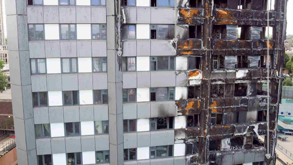 Image of Grenfell facade after the fire