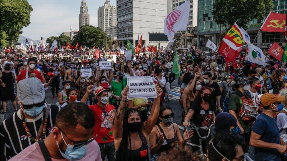 Protesta contra el gobierno en Río de Janeiro