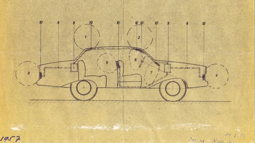 Image shows a prototype design of the airbag
