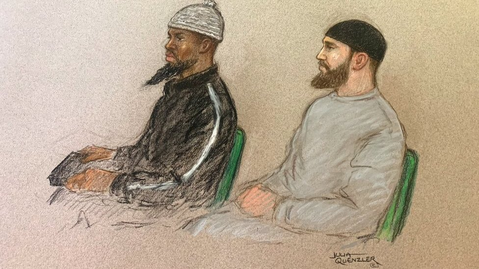 A court sketch of Brusthom Ziamani and Baz Hockton