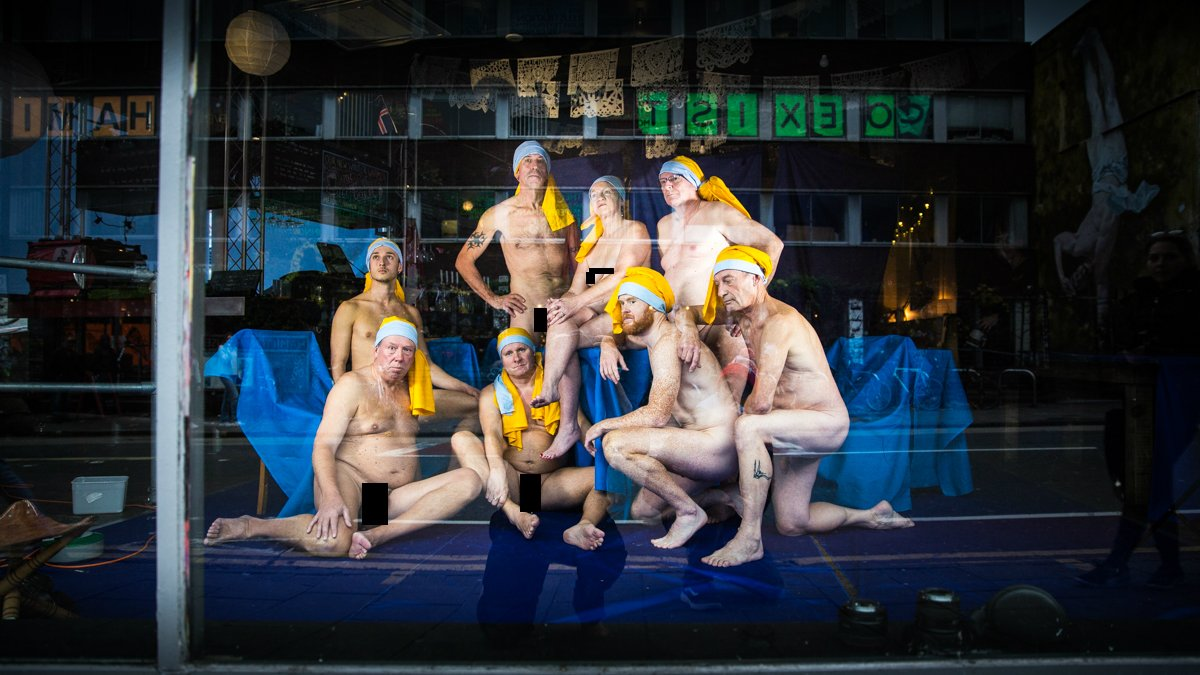 Bristol volunteers bare all for art photos in bar window
