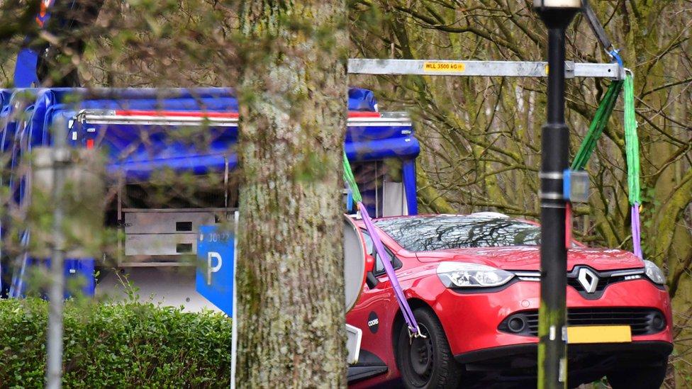 A car is found in the Tichelaarslaan in Utrecht, The Netherlands, 18 March 2019