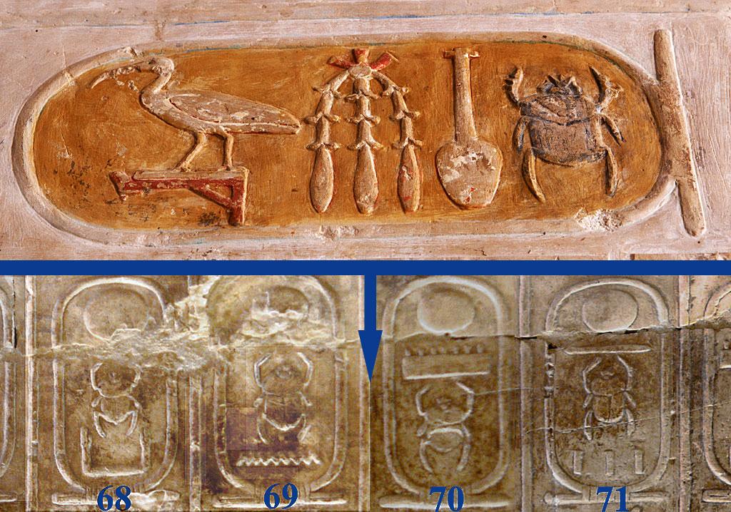 Cartucho de Hatshepsut y lugar en el que debería estar en Lista Real de Abidos