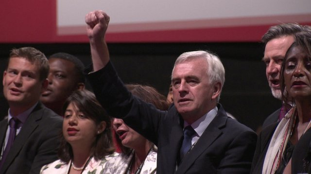 John McDonnell at the closing of the Labour Party conference