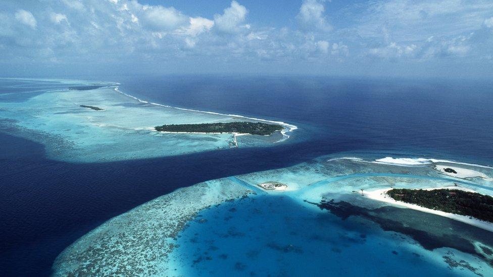 صورة الساحل في إحدى حزر المالديف