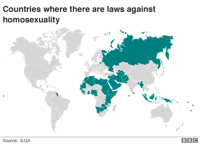 World map shows where there are laws against homosexuality
