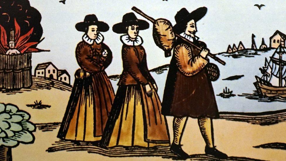 Un grabado representa a los puritanos a punto de emigrar de Inglaterra. Data del siglo XIV.