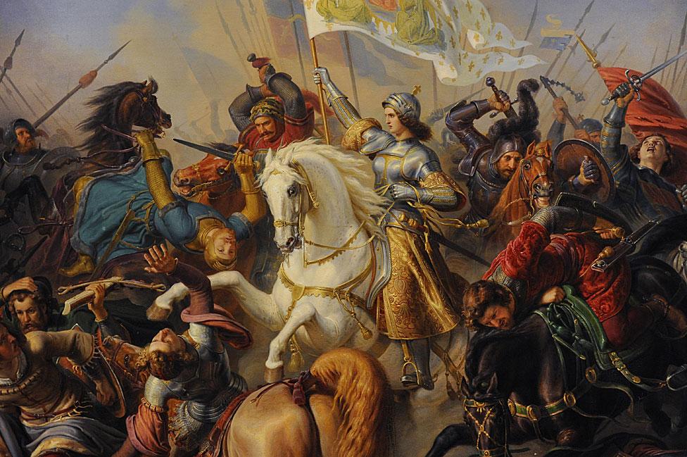 Batalló con Juana de Arco, pintada aquí por el alemán Hermann Anton Stilke (1803-1860), en un óleo sobre lienzo. que está en el Museo Estatal del Hermitage, San Petersburgo, Rusia.