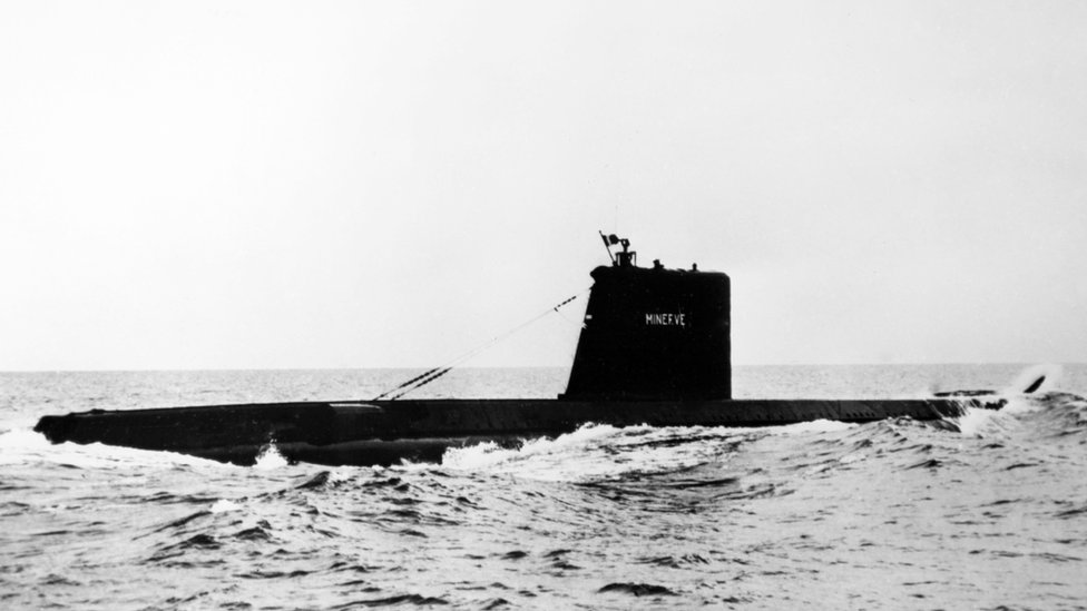 French submarine Minerve in France, on March 3, 1964
